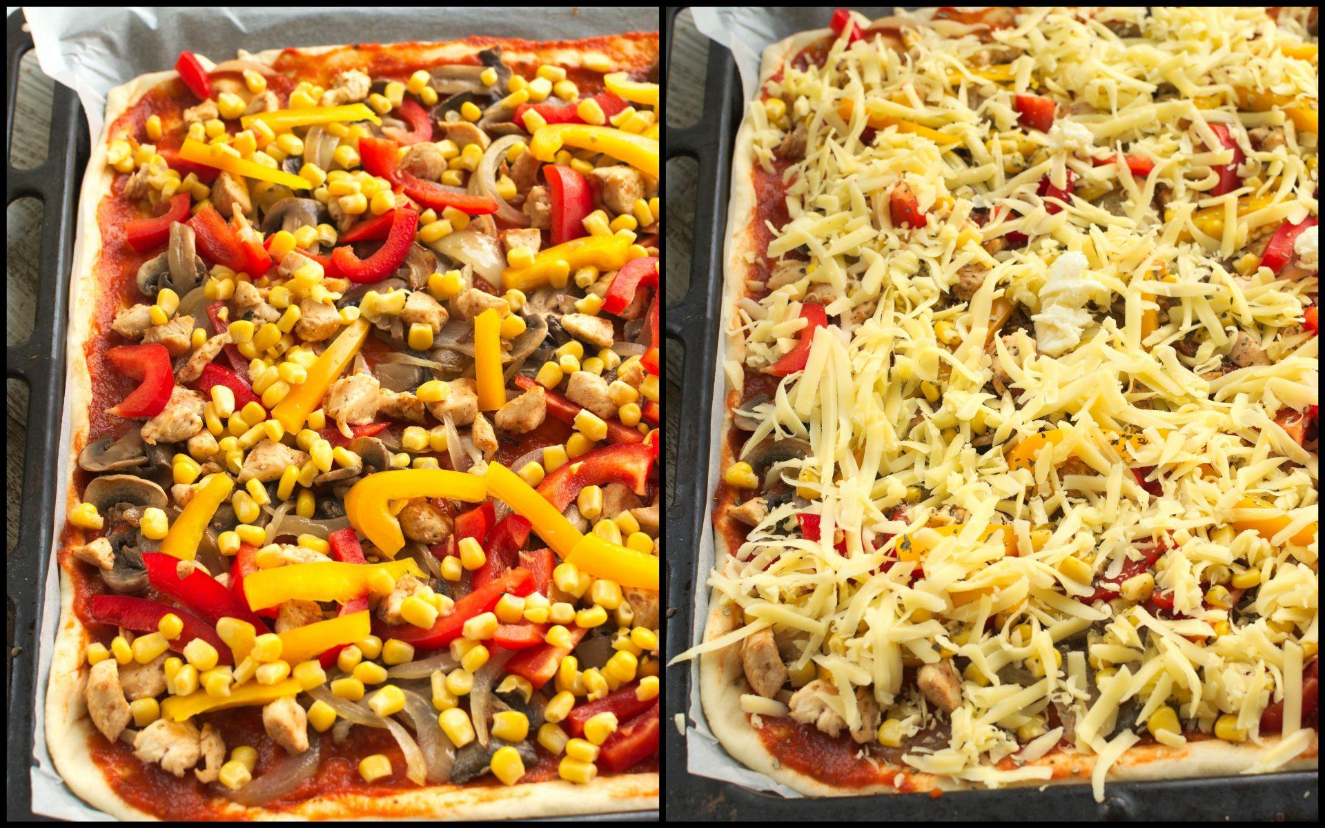 Następnie wykładamy podsmażonego kurczaka, paprykę i kukurydzę. Gotową pizzę posypujemy startym serem.