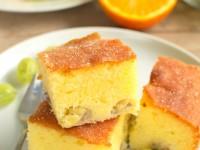 Nasączane ciasto pomarańczowe z agrestem
