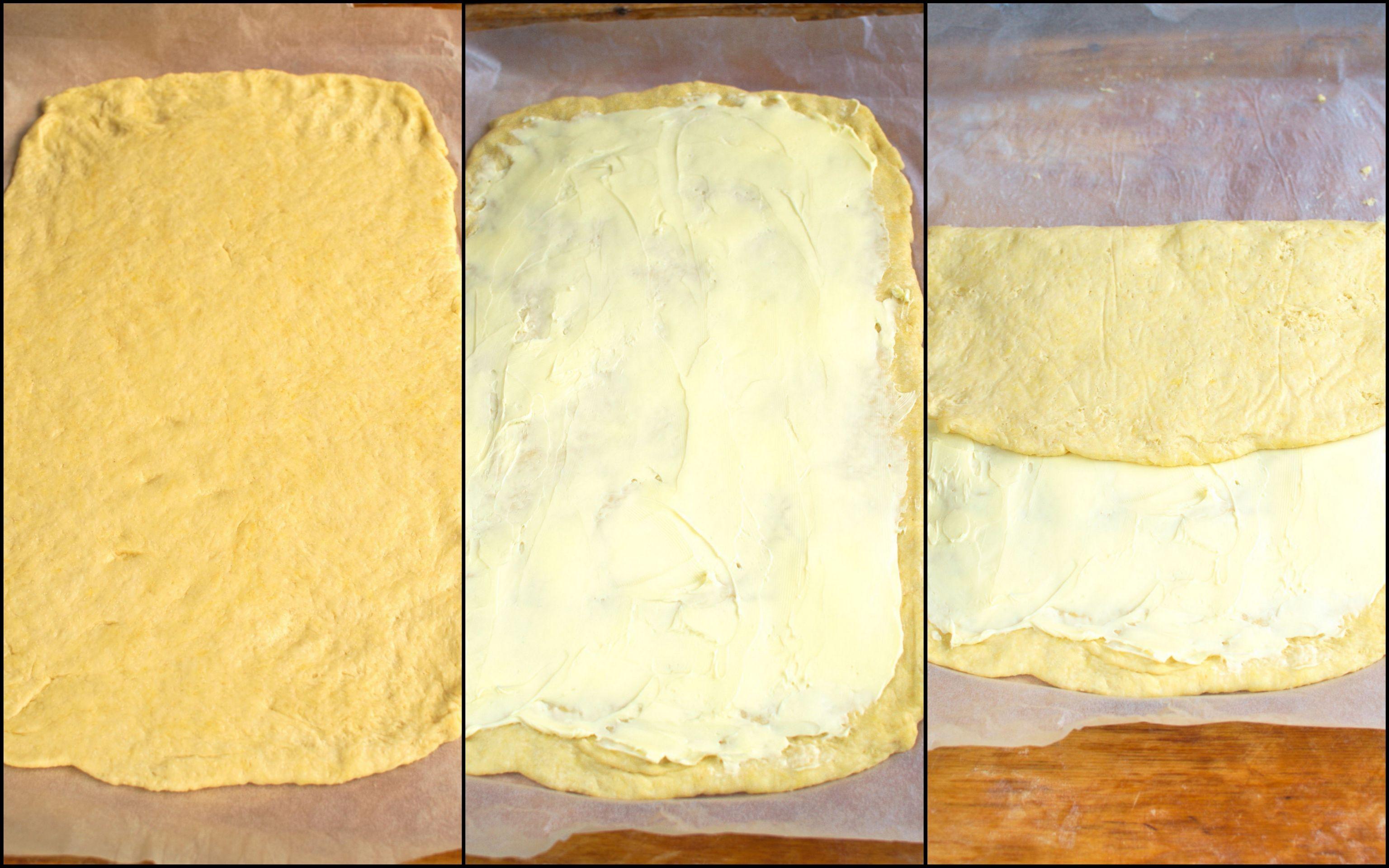 Ciasto smarujemy masłem i składamy.