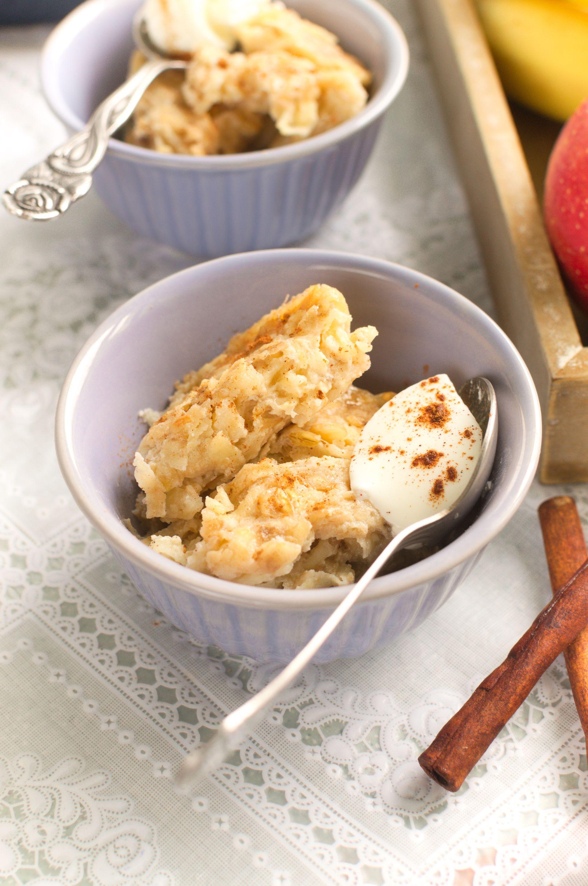 Pieczona owsianka z jabłkiem i bananem