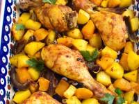 Pałki z kurczaka pieczone z dynią w curry