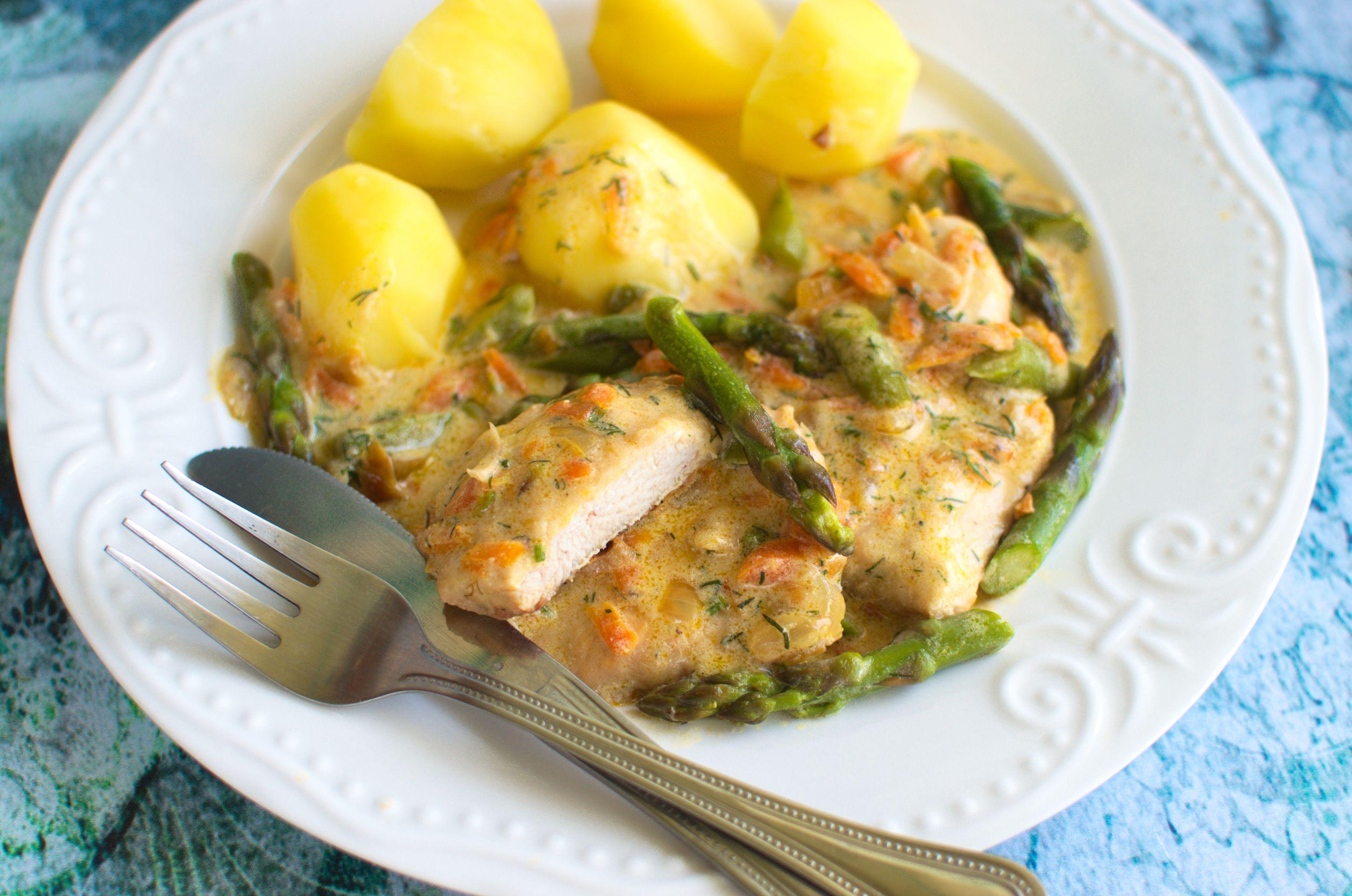 Fileciki z kurczaka w delikatnym sosie ze szparagami