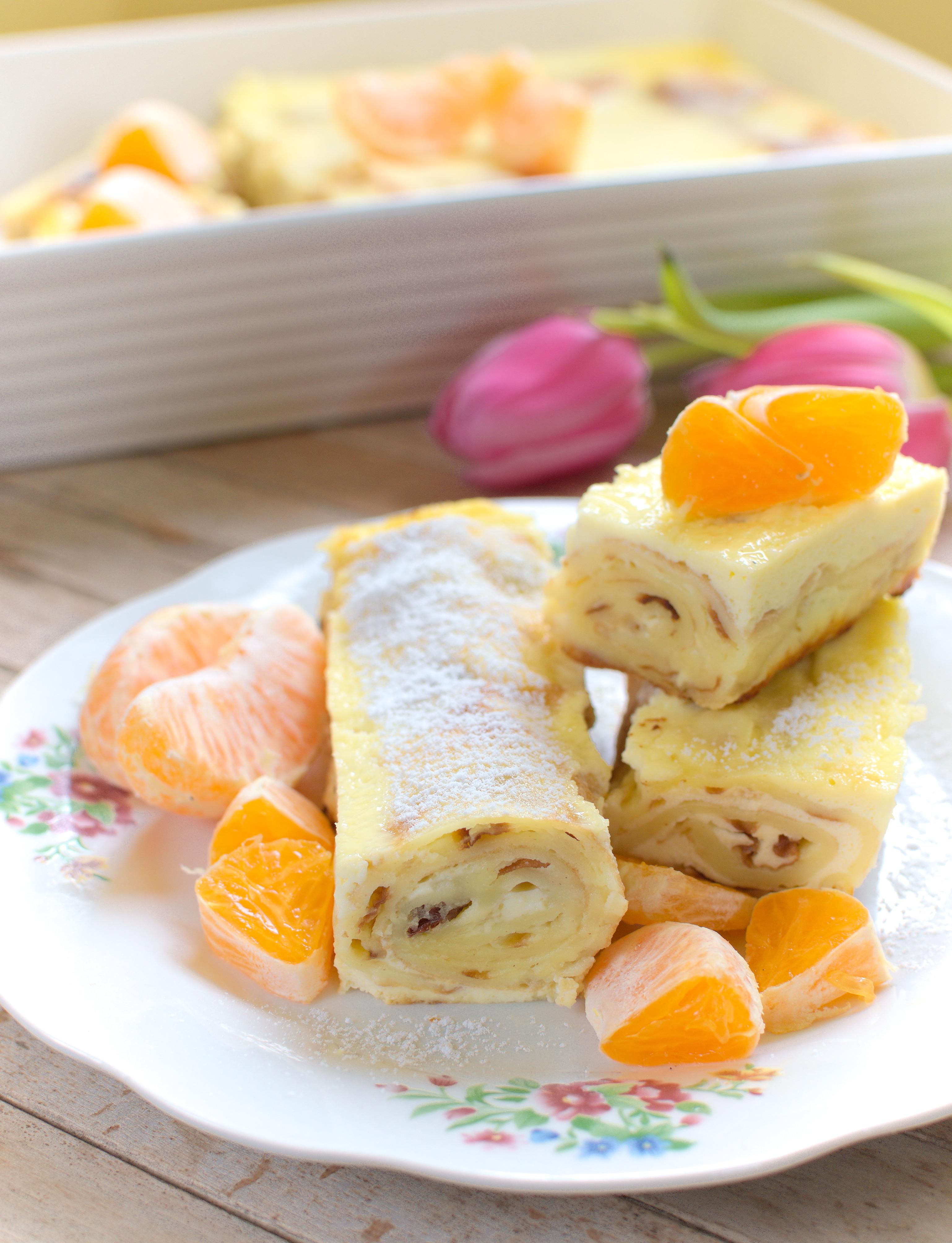 Naleśniki z serem zapiekane w sosie śmietanowym