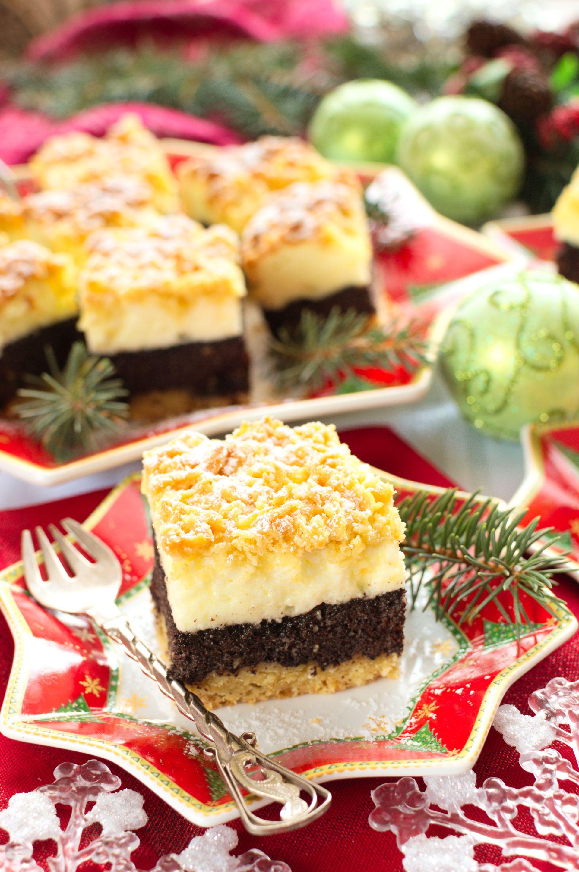 Kruche ciasto z makiem i budyniową pianką