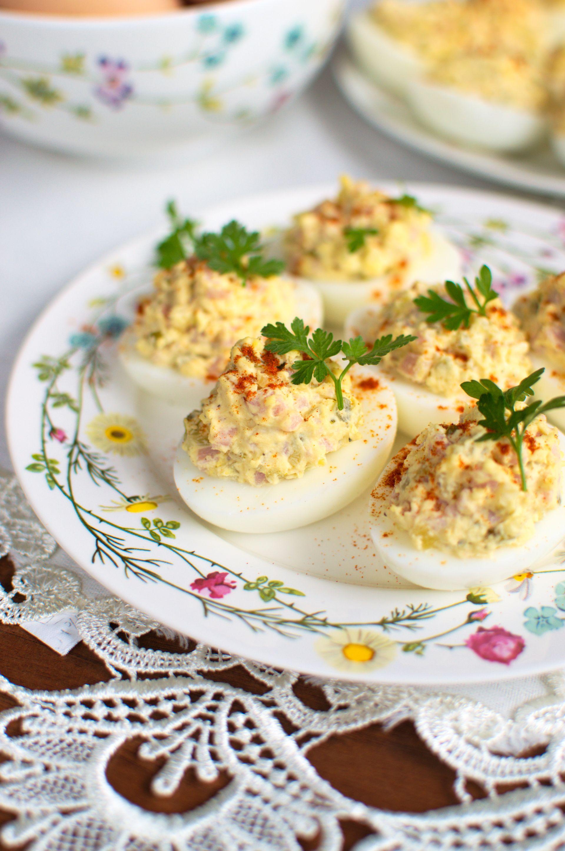 Jajka Faszerowane Ogorkiem Konserwowym I Szynka