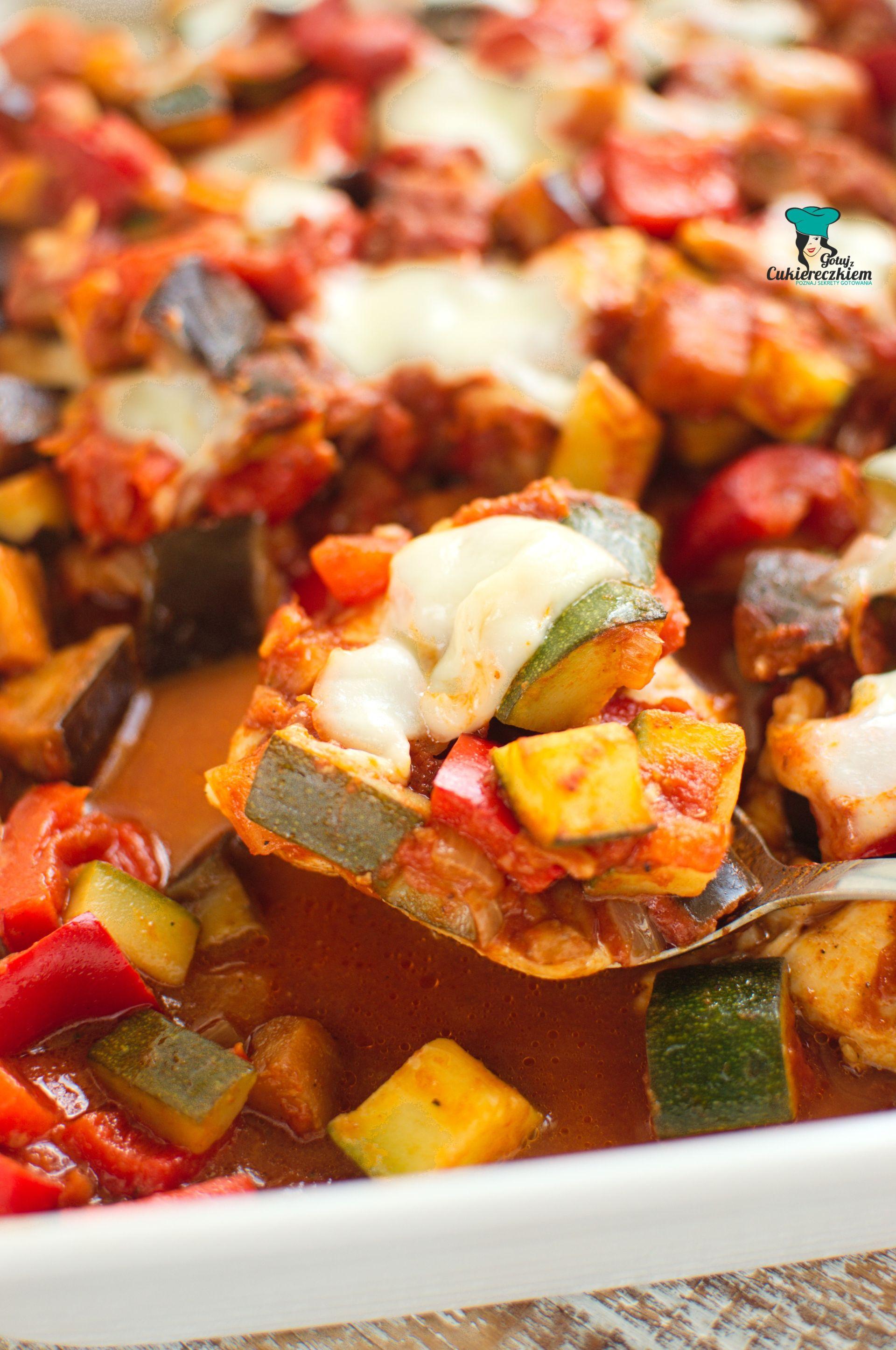 Fileciki z kurczaka zapiekane z warzywami i mozzarellą
