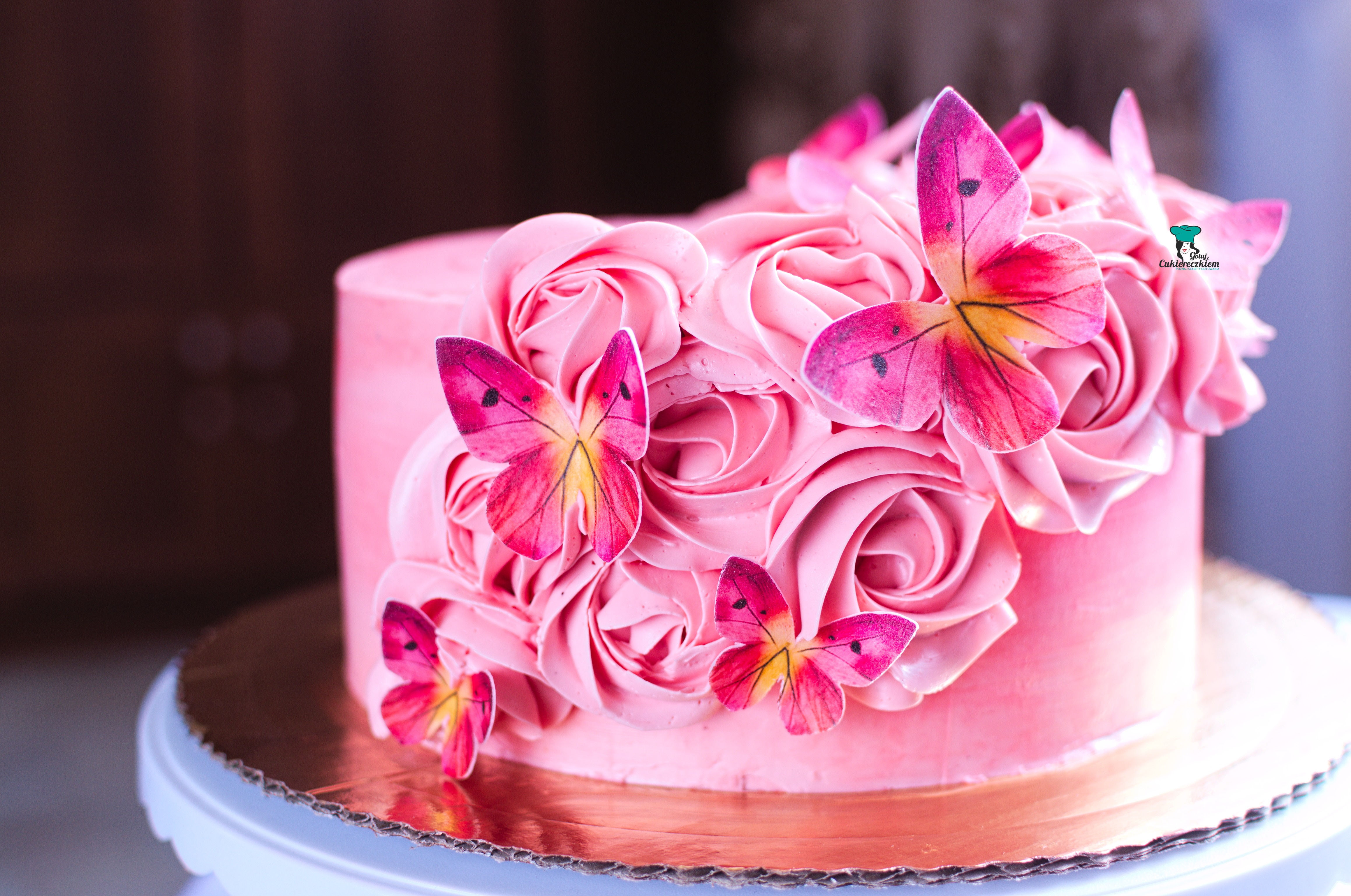 Tort z motylami (limonka-truskawka)